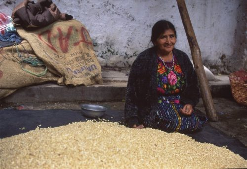 Close-up landscape photo of a woman, perhaps in her fifties, selling white corn at a market in Chichicastenango, Guatemala. In the lower half of the photo she has laid out a sheet of black plastic onto the street, over which she has poured a mound of white corn kernels that form a pyramid in the lower third of the image. In the upper half of the photo we see a large empty burlap gunny sack, laying on the sidewalk, used to transport the corn. She sits adjacent to her corn, with both legs tucked underneath her knees. Her long black hair, which is pulled to the back of her neck, matches her black long-sleeve sweater. She wears a Guatemalan embroidered blouse with red, orange, yellow, and pink flowers, and a dark blue skirt. Her eyes sparkle as she smiles at the camera without parting her lips.