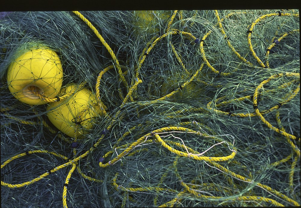A landscape photo of green plastic fishnet crumpled into a pile on the beach in Huatulco, Mexico. The green fishnet, a twisted jumble of netting ranging in color from a dark teal to a light forest green, fills the image. On the left third of the photo, two yellow buoys—the size of large softballs—nestle against each other just underneath the fishnet. A ¼-inch yellow plastic twisted line threads through the buoys, swirling and looping around the image, in and out of the green fishnet.
