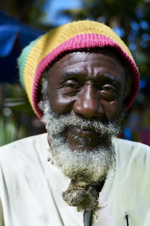 A Rastafarian man, on the island of St. Martin in the Caribbean, smiles gently at the camera. His shoulders and face are directly lit by the sun, which is high and to the left, leaving the right side of his face in shadow. A white moustache and beard, knotted four inches below his chin, contrasts dramatically against his black face. He wears a multicolored knitted cap: pink above his forehead, yellow in the middle, and spring green at the top. The hat bends backwards away from the camera due to the weight of hair inside. He wears a plain white shirt. Above his shoulders, swirls of dark green foliage and bright blue sky blur around him in the background.